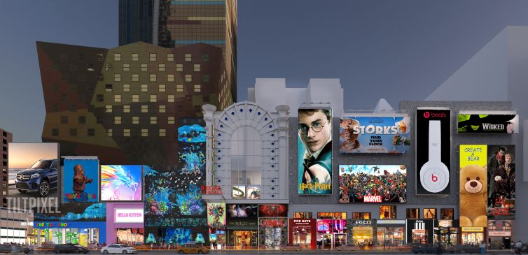 A rendering of E-Walk Retail and Entertainment complex, including the Regal movie theater at 247 West 42nd Street.