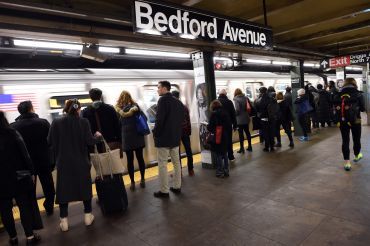 L Train riders wait at Bedford Avenue in Williamsburg.