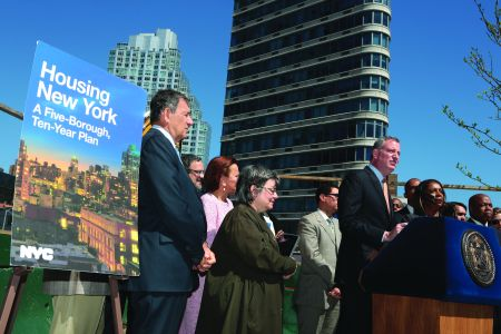Mayor Bill de Blasio's commitment to affordable housing development has been warmly received by city developers and real estate interests.