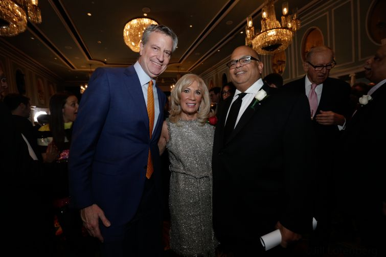Mayor Bill de Blasio, C&W's Joanne Podell and REBNY President John Banks.