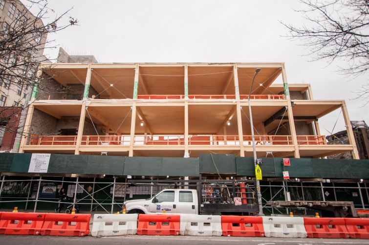 The previously under-construction timber office building at 320 Wythe Avenue.