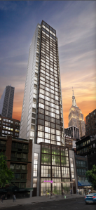 A rendering of the Moxy Hotel at 105-109 West 28th Street.