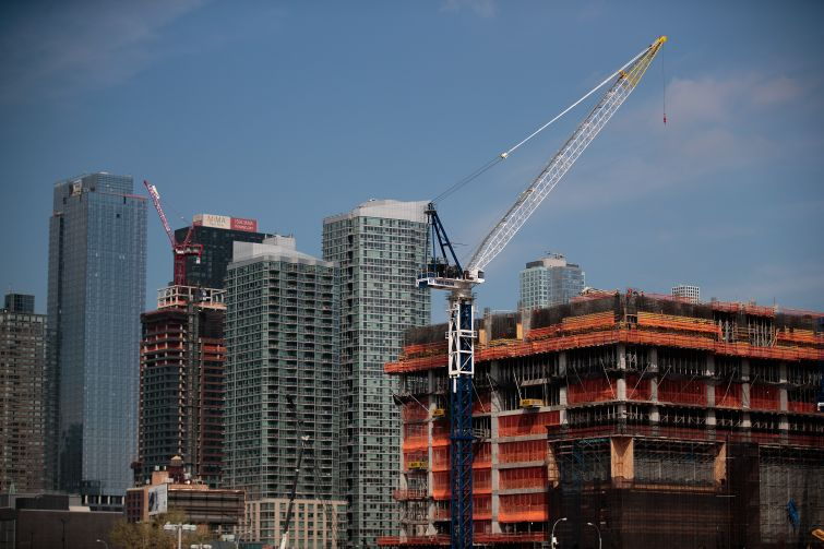 A view of a new residential building under construction in the Hudson Yards development.