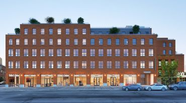 An exterior rendering of the brick facade at 320 Wythe Avenue.