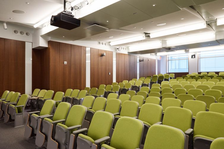 NYU recently completed a 200-person lecture hall on the second floor.