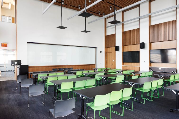 A completed classroom that can hold up to 100 people.
