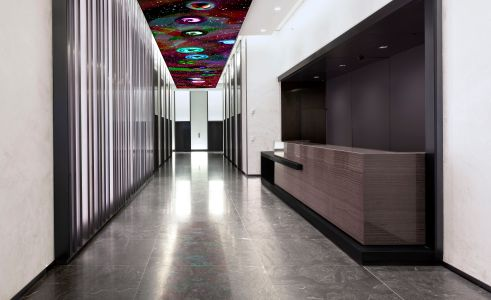 The lobby at 250 West 57th Street.