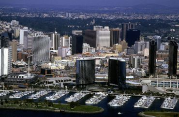 An aerial view of downtown San Diego and the marina.