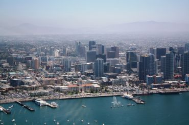 An aerial view of downtown San Diego.