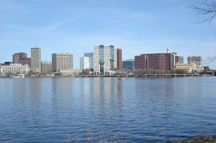 Kendall Square in Cambridge, Mass. Seen from the Charles River.