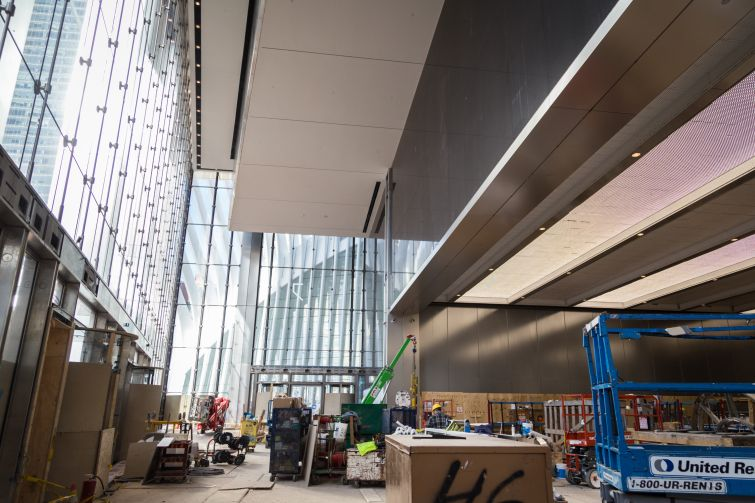 The entrance to the building features 60-foot ceiling heights and large amounts of light.