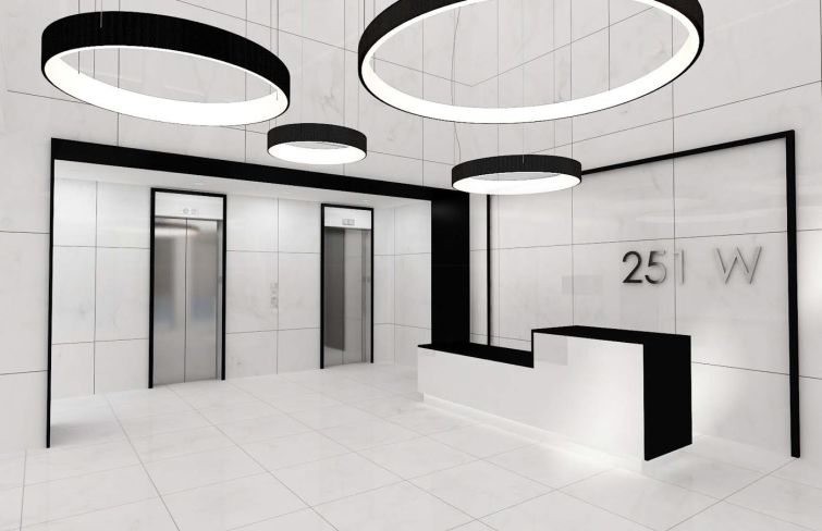 A rendering of the redesigned lobby of 251 West 30th Street.