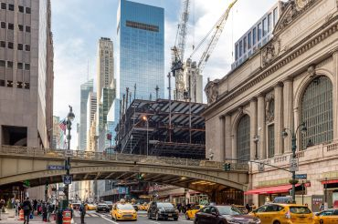 SL Green Realty's One Vanderbilt office development rises next to Grand Central Terminal in Midtown.