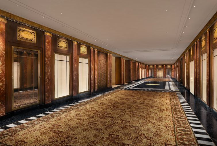 "The Waldorf Astoria's ""Peacock Alley,"" pictured, is being renovated as part of a major overhaul and condo conversion designed by SOM."