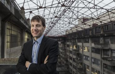 EDC CEO James Patchett poses at the Brooklyn Army Terminal, one of his agency's biggest projects.