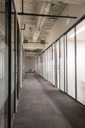 The frosted glass walls of the private offices and team rooms bring natural light into the halls.