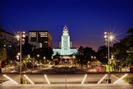 LA City Hall at night