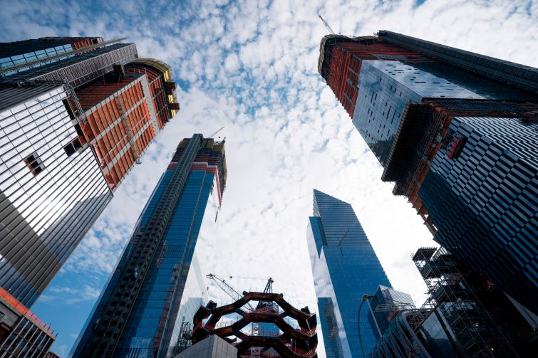 Commercial and residential towers rise at Hudson Yards.