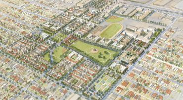 The larger 119-acre mixed-use project by The Housing Authority of the City of L.A. is located at 9800 Grape Street.