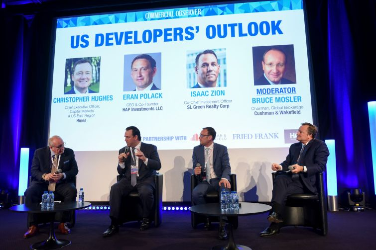 From left: Bruce Mosler of Cushman & Wakefield, Isaac Zion of SL Green, Eran Polack of HAP Investments and Christopher Hughes of Hines talk about investing in the United States at MIPIM.