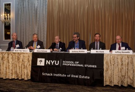 From left: Owen Thomas, Hap Stein, Glenn Rufrano, Anthony Malkin, Ric Clark and Jeffrey Horowitz speak at the NYU Schack Institute of Real Estate's 2018 REIT Symposium.