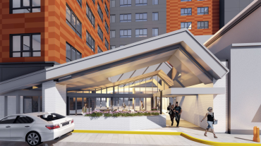 A rendering of the Pod Hotel in Philadelphia.