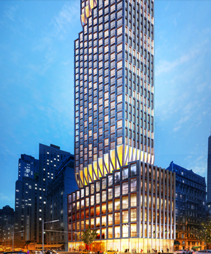 A rendering of 211 West 54th Street, as Extell had envisioned it before the company tried to sell the lot.