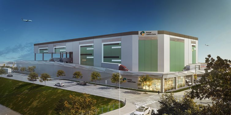 A rendering o the planned warehouse.