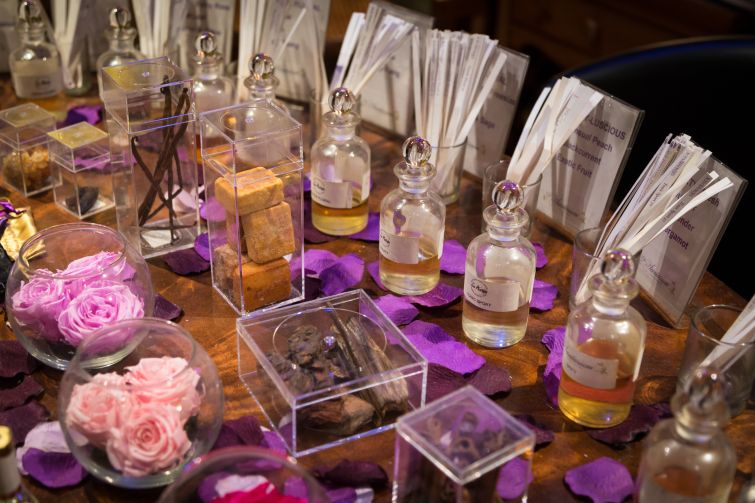 The many scent vials found at the Scentarium.