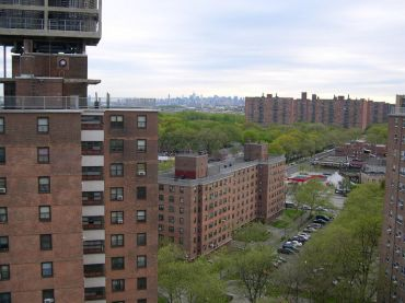 A view of the Soundview section of the Bronx, with Manhattan in the background.