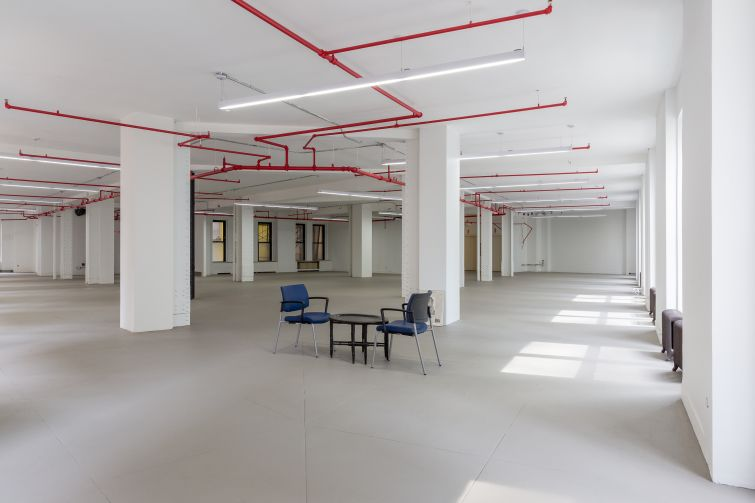 The open floor plans on the fifth floor of the newly renovated 5 Columbus Circle.