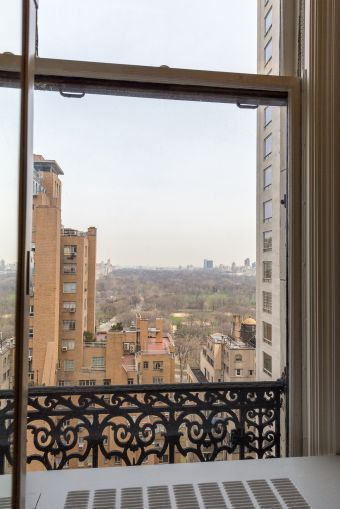A view of Central Park framed in original ironwork from the north facing windows of a doctor's office on the 18th floor at 5 Columbus Circle.