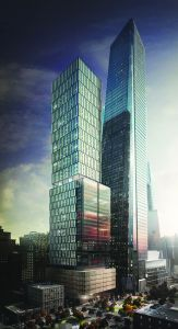 Exterior rendering of 50 Hudson Yards, designed by Foster + Partners