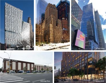 Top, from left to right: 300 Ashland Place, 140 West Street, 11 Times Square. Bottom, from left: 5100 Kings Plaza and 33 Bond Street.