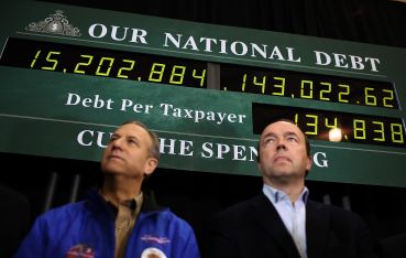 A display showing the national debt at a Republican campaign event in 2012. Since then, the party has reduced its emphasis on fiscal discipline.