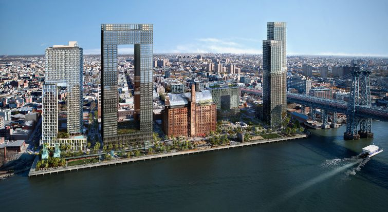 A rendering of full Two Trees Managment's Domino Sugar development site.