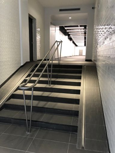 A new staircase that leads to the bike room.