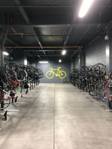 The bike room has 150 racks.