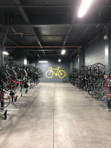 The bike room has 150 racks.