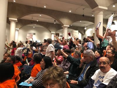 """Protesters scream """"Shame!"""" and """"Shut it down!"""" as the Rent Guidelines Board voted down a possible rent freeze on Thursday night."""