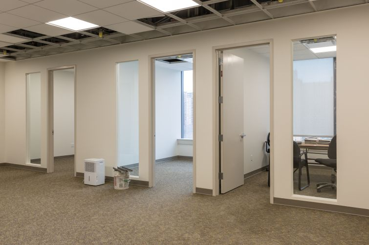 Model office spaces on the fourth floor at 626 Sheepshead Bay Road.