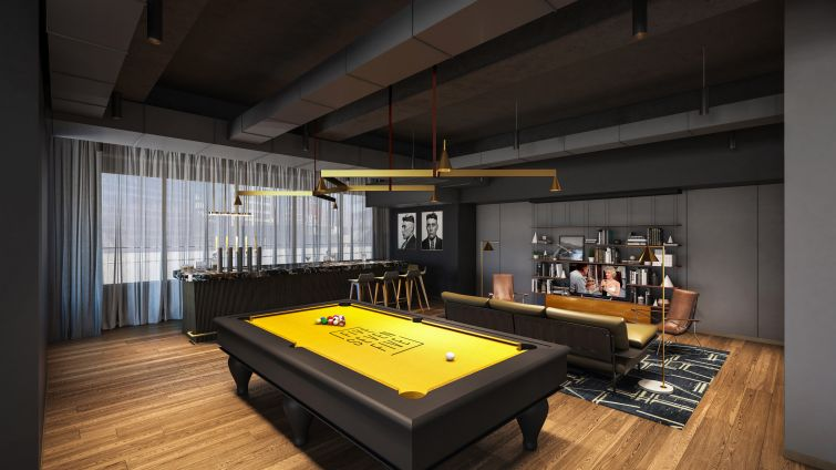 The game room will feature a pool table and a bar.