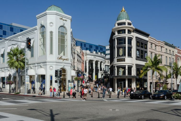 A shot of Rodeo Drive in Beverly Hills, Calif.