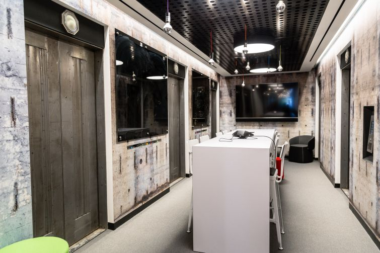 Agoda's locked think tank room, which was created from a deactivated elevator bank.