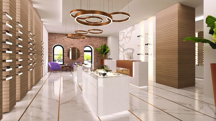 A rendering of a optical store on the ground floor.
