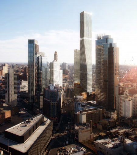 The proposed two-tower development at 80 Flatbush Avenue.