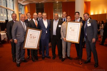 From left: Bob Gibson and Patrick Smith, JLL; Benjamin Birnbaum and Ben Shapiro, Newmark Knight Frank; Matthew Ogle, JLL; Bill Rudin, REBNY Chairman; John H. Banks, REBNY President; Corey Zolcinski, JLL; Neil Seth and Kenji Ota, Cushman & Wakefield; Steven Soutendijk, Cushman & Wakefield, Co-Chair of REBNY's Retail Committee.