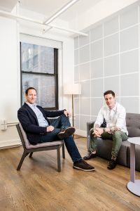 IN THE NEXT BREATH: Breather co-Founder and CEO Julien Smith, right, and Hank Jonap, the director of real estate transactions and construction at the company, are responding to clients' demands for longer-term space by offering office spaces for as long as a year with an option to renew.