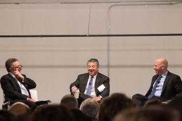 From left: Jonathan Mechanic, Marc Holliday and Scott Rechler chat about the Midtown East market during CO's Midtown panel.