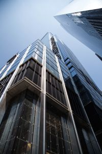A close-up view of 3 World Trade.
